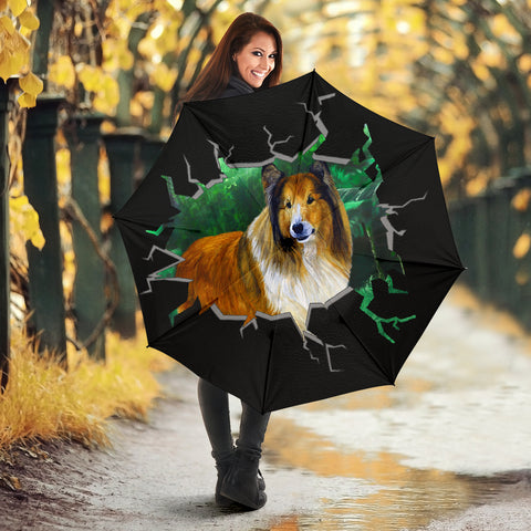 Rough Collie Dog Art Print Umbrellas