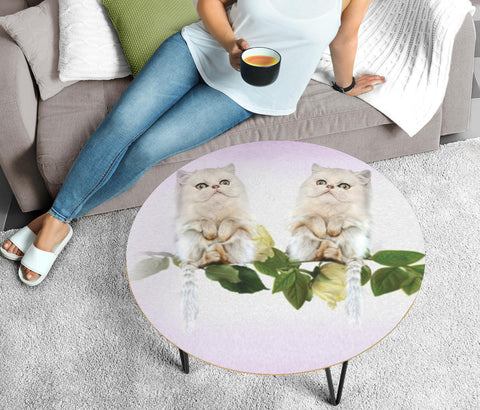 Persian Cat Print Circular Coffee Table