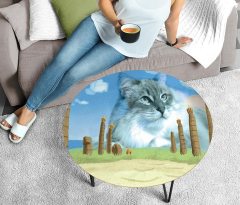 Cute Siberian Cat Print Circular Coffee Table