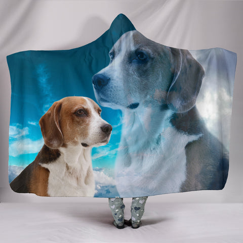 Cute English Foxhound Print Hooded Blanket