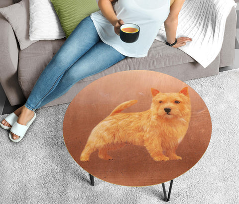 Cute Norfolk Terrier Dog Print Circular Coffee Table