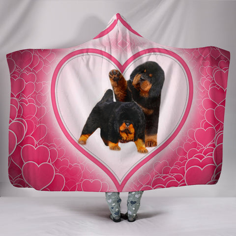 CuteTibetan Mastiff Puppies Print Hooded Blanket