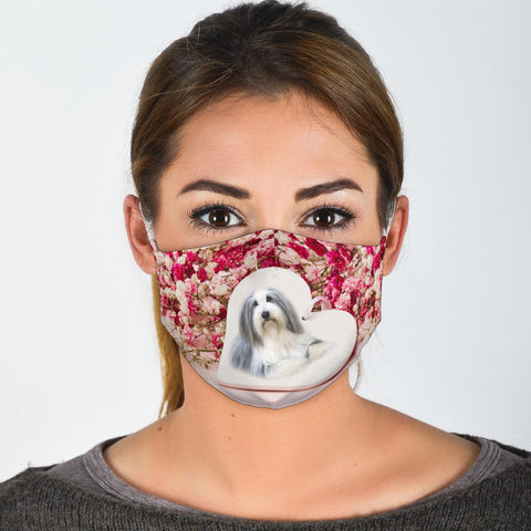 Bearded Collie Floral Print Face Mask