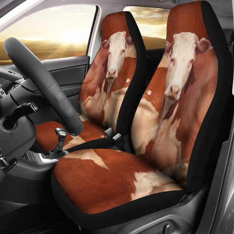 Hereford Cattle Print Car Seat Covers