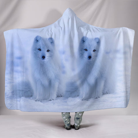 Lovely Arctic Fox Print Hooded Blanket
