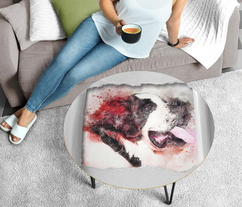 St. Bernard Dog Watercolor Print Circular Coffee Table