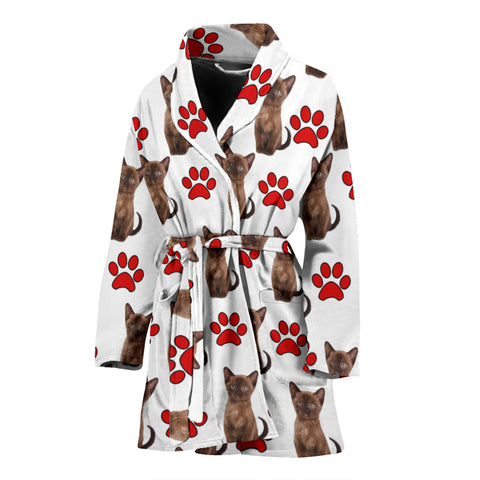 Burmese Cat With Paws Print Women's Bath Robe