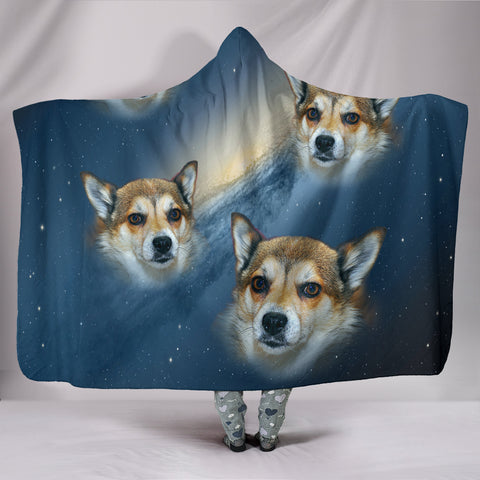 Norwegian Lundehund Print Hooded Blanket