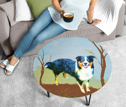 Cute English Shepherd Dog Print Circular Coffee Table