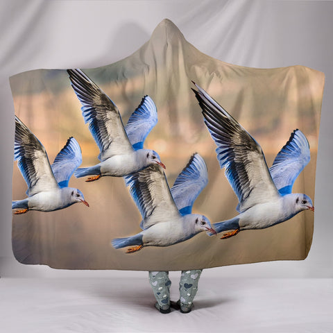Seagulls Bird Print Hooded Blanket