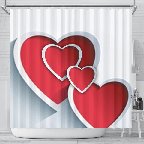 Red Heart Print Shower Curtain