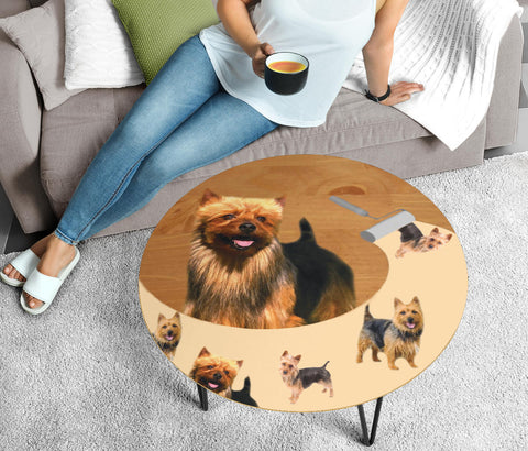 Cute Australian Terrier Print Circular Coffee Table