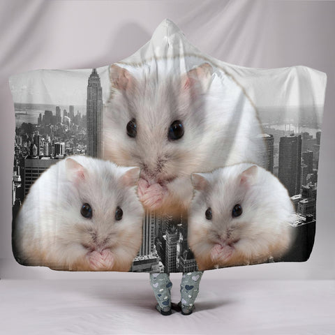 Cute Chinese Hamster Print Hooded Blanket