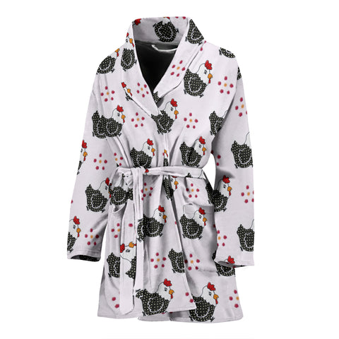 Cute Birds With Paws Print Women's Bath Robe