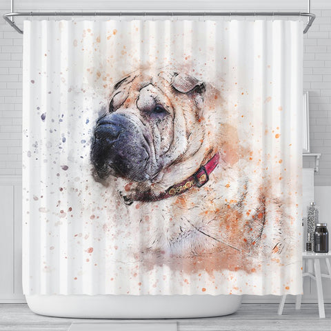 Shar Pei Dog Art Print Shower Curtains