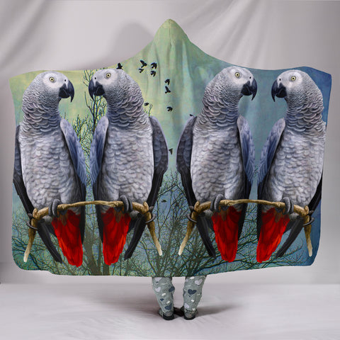 Lovely African Grey Parrot Print Hooded Blanket