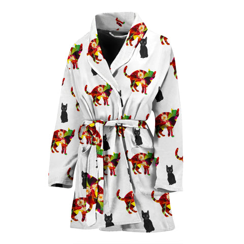 Colorful Cat Patterns Print Women's Bath Robe