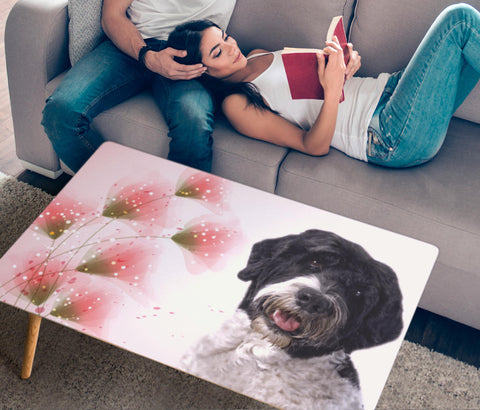 Cute Portuguese Water Dog Print Rectangular Coffee Table
