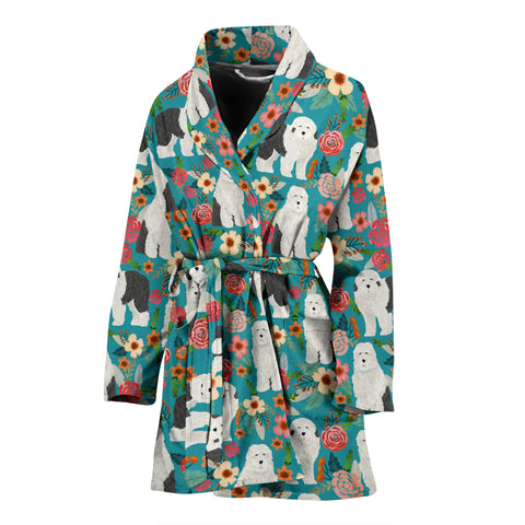 Old English Sheepdog Floral Print Women's Bath Robe