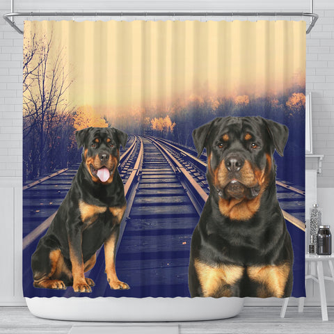 Cute Rottweiler Dog Print Shower Curtains