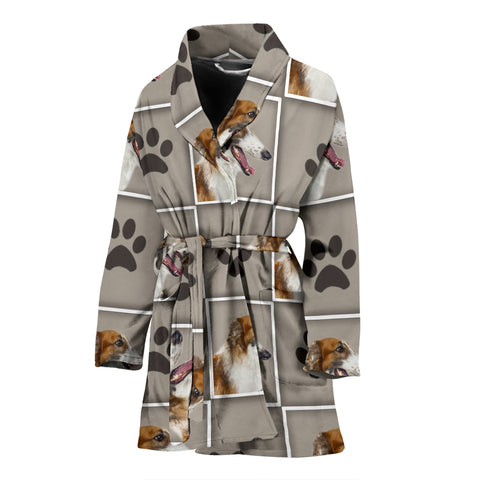 Borzoi dog With Paws Print Women's Bath Robe