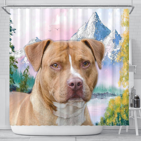 American Staffordshire Terrier Print Shower Curtains