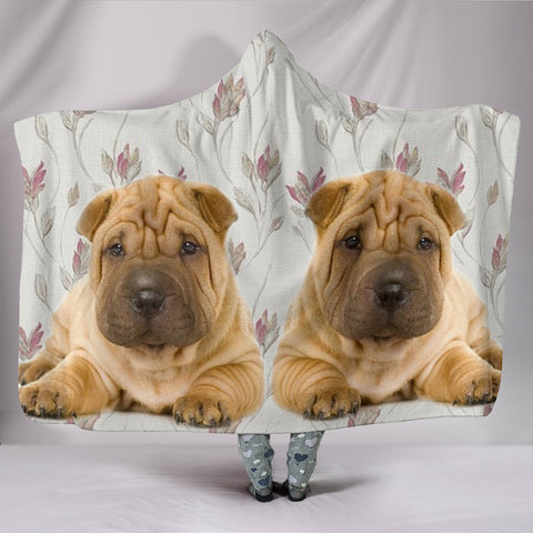 Shar Pei Dog Print Hooded Blanket