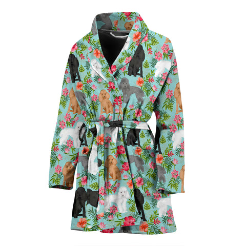 Cute Poodle Dog Floral Print Women's Bath Robe