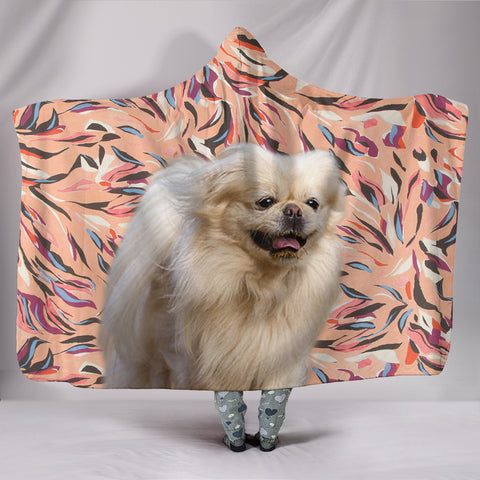 Pekingese Dog Print Hooded Blanket