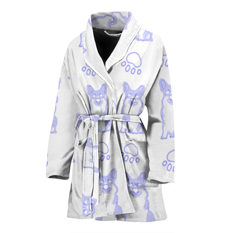 Pembroke Welsh Corgi Paws Print Women's Bath Robe