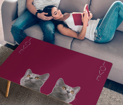 Chartreux Cat Love Print Rectangular Coffee Table