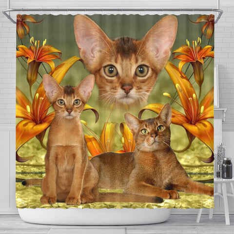 Abyssinian Cat Print Shower Curtains