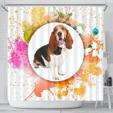 Colorful Basset Hound dog Print Shower Curtain