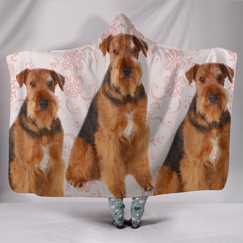Amazing Airedale Terrier Dog Print Hooded Blanket