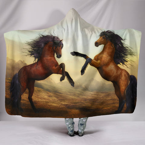 Wild Horse Art Print Hooded Blanket
