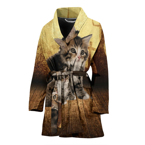 Siberian cat Print Women's Bath Robe
