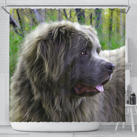 Grey Newfoundland Dog Print Shower Curtain