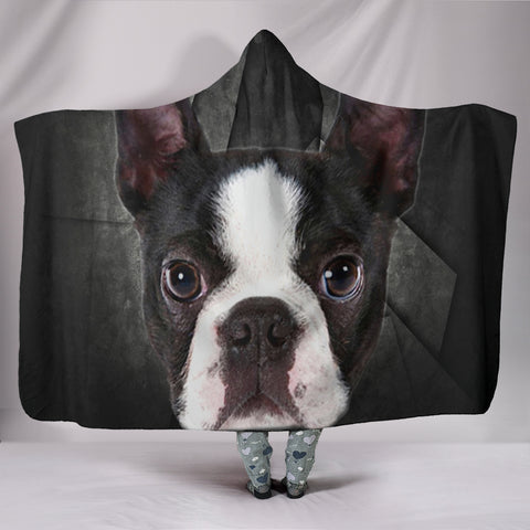 Boston Terrier On Black Print Hooded Blanket