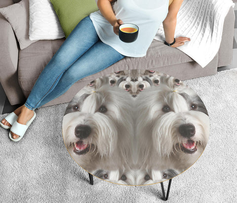 Old English Sheepdog Face Print Circular Coffee Table
