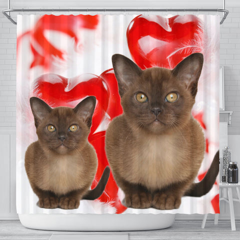 Burmese Cat On Red Print Shower Curtains