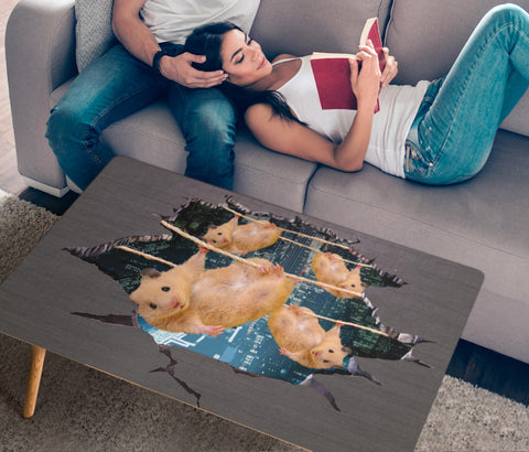 Golden Hamster Hanging Print Rectangular Coffee Table