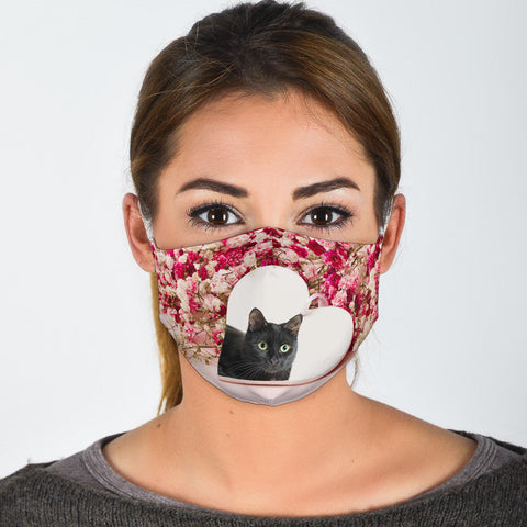 Bombay Cat In Heart Print Face Mask