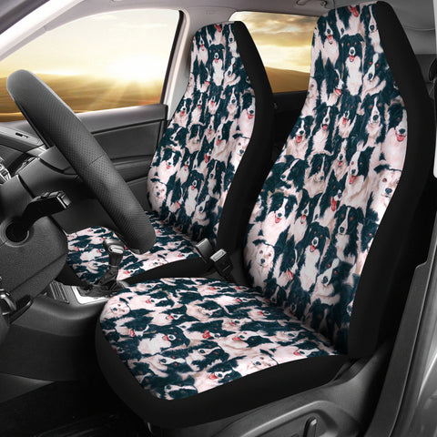 Border Collie In Lots Print Car Seat Covers