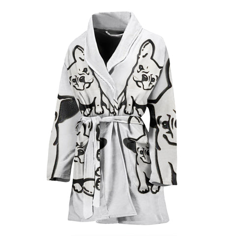 French Bulldog Art Print Women's Bath Robe