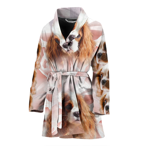Cute Cavalier King Charles Spaniel Print Women's Bath Robe