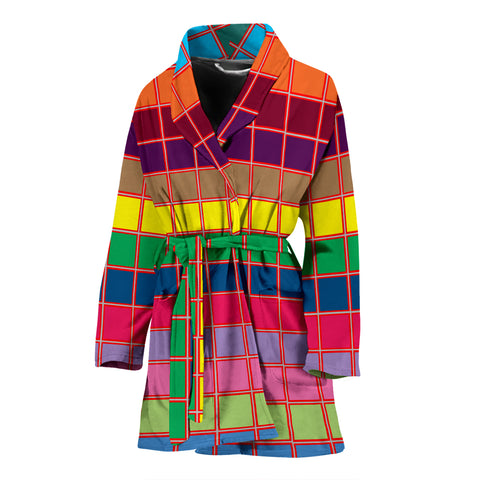 Multicolor Square Print Women's Bath Robe