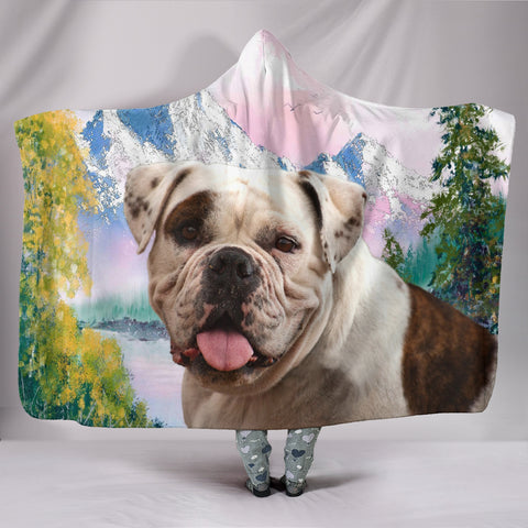American Bulldog Print Hooded Blanket