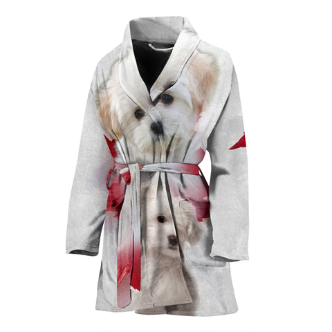 Cute Maltese Print Women's Bath Robe