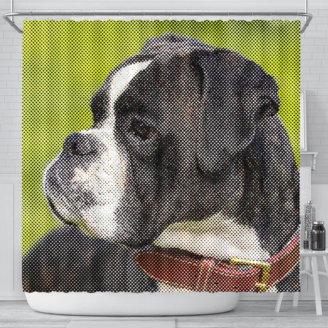 Boxer Dog Dotted Art Dog Print Shower Curtains