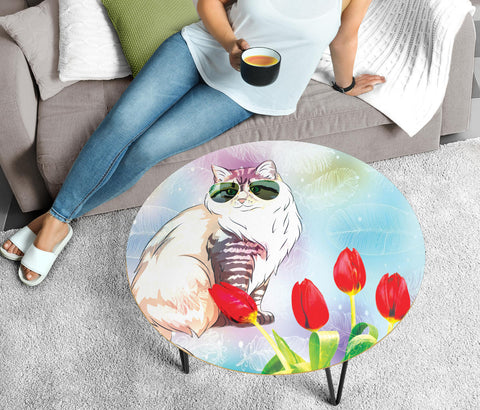 Siberian Cat Print Circular Coffee Table